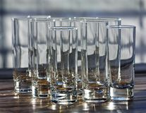 Glasses on the table with bokeh royalty free stock photo