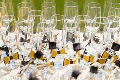 Glasses on a table royalty free stock photo
