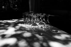 Glasses on the table. Inverted glasses on the table Stock Images