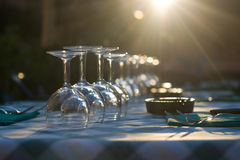 Glasses on a table at restaurant Royalty Free Stock Image