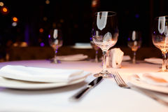 Glasses on a table. In a restaurant Royalty Free Stock Photo