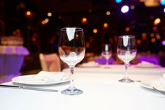Glasses on a table. In a restaurant Royalty Free Stock Photography