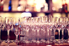 Glasses on the table in a restaurant Stock Photography