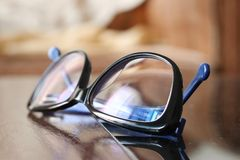 Glasses, spectacle. Glasses on table, spectacle royalty free stock photos