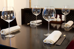 Glasses on table in sushi restaurant Royalty Free Stock Photo