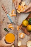 Glasses of tangerines orange juice and fruits, high vitamin C stock images
