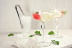 Glasses with tasty melon and watermelon ball drinks. On light table stock images