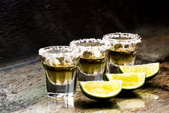 Glasses of tequila at the bar Royalty Free Stock Photo
