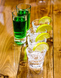 Glasses of tequila at the bar Stock Photography