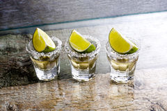 Glasses of tequila at the bar Royalty Free Stock Photography