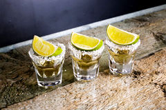 Glasses of tequila at the bar Stock Image
