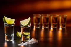 Glasses of tequila and lime slices royalty free stock photo