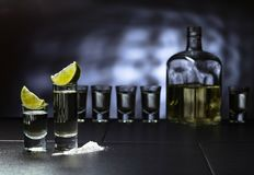 Glasses of tequila and lime slices stock images