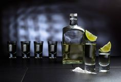 Glasses of tequila and lime slices royalty free stock photography