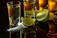 Glasses of tequila and lime slices royalty free stock images