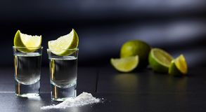 Glasses of tequila and lime slices stock photos