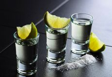 Glasses of tequila and lime slices stock photography