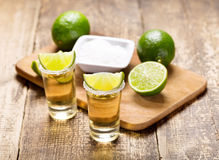 Glasses of tequila with lime Stock Photo