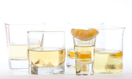 Glasses of tequila and whiskey Stock Photography