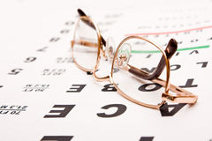 Glasses on test chart Royalty Free Stock Images