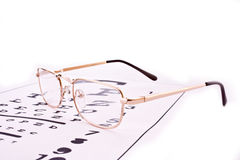 Glasses on test chart Stock Image