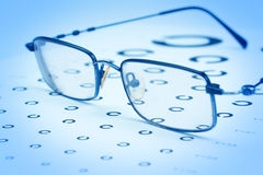 Glasses to improve vision on the test card. Stock Photography