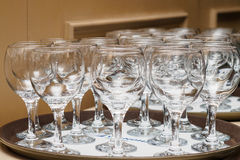 Glasses on the tray Stock Photos