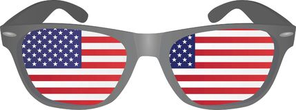 Glasses with usa flag inside Royalty Free Stock Images