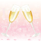 Glasses of valentine's day champagne Stock Images