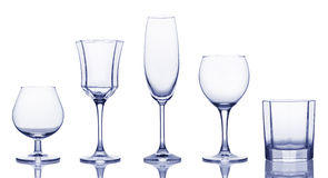 Glasses for various alcoholic drinks. Stock Photos