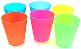 Glasses of various colors Stock Photos