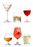 Glasses of various drinks Stock Photo