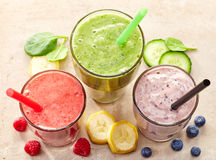 Glasses of various smoothies Royalty Free Stock Image
