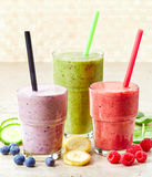 Glasses of various smoothies Royalty Free Stock Images