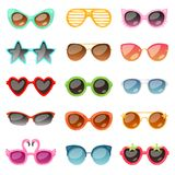 Glasses vector cartoon eyeglasses or sunglasses in stylish shapes for party and fashion optical spectacles set of. Eyesight view accessories illustration royalty free illustration