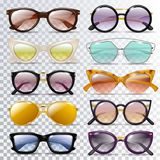Glasses vector cartoon eyeglasses or sunglasses in stylish shapes for party and fashion optical spectacles set of. Eyesight view accessories illustration vector illustration