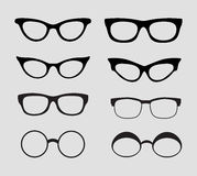 Glasses vector set. Retro, hipster styles Stock Image