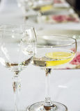 Glasses of vermouth with lemon. For birthday party Royalty Free Stock Photography