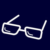 Glasses or view icon of set white outlines. Vector of collection business Stock Photo