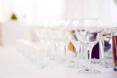 Glasses for vine and vodka Royalty Free Stock Images