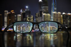 Glasses, vision concept, Shanghai. Glasses and Shanghai panorama - great for topics like vision, business concept or eyesight problems Stock Image