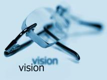 Glasses vision word eye exam stock photo