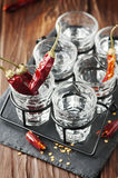 Glasses of vodka with hot chili peppers Royalty Free Stock Photo