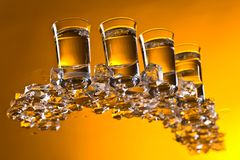 Glasses of vodka with ice. royalty free stock images