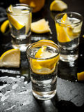 Glasses with vodka and lemon. Stock Photo