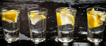 Glasses with vodka and lemon. Stock Photography