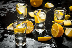Glasses with vodka and lemon. Stock Image