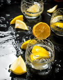 Glasses with vodka and lemon. Royalty Free Stock Photos