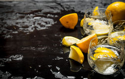 Glasses with vodka and lemon. Royalty Free Stock Photography