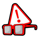 Glasses warning Royalty Free Stock Photo